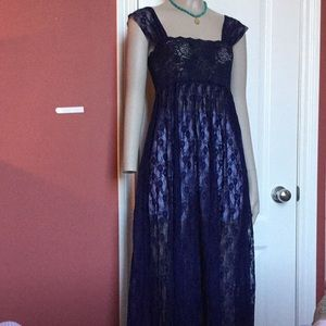 Free people long lace sheer maxi dress s small 4 6
